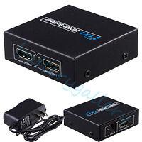 Full HD 1x2 Port HDMI Splitter Amplifier Repeater 3D 1080p Female Switch Box Hub