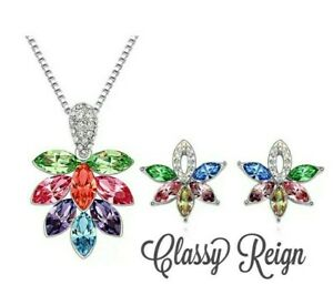 Handcrafted Artisan Rhinestone Necklace and earring set