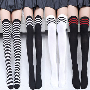 Women Thigh High Stockings Over Knee Athletic Soccer Rugby Sports Striped Socks
