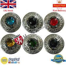"Scottish Kilt Fly Plaid Brooch Stone Various/Fly Plaid Brooch Silver Finish 3"""