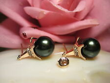 Earring Studs 925 Silver Gold Plated Shell Pearls Pearls Eiffel Tower