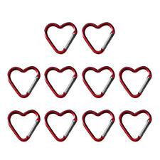 10pcs Carabiners Spring Locked Gate Snap Hook Red Heart-shaped Hardware Clip
