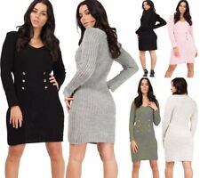 Womens Button Front Knitted Bodycon Dress Ladies VNeck Long Sleeve Midi Dress