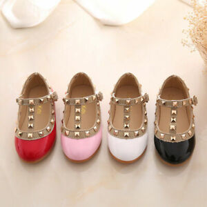 Kids Girls Dance PU Faux Leather Pointed Toe Rivet T-Strap Sandals Flats Shoes