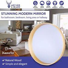 Oak & Ash Wood Round Mirror Natural Scandi Modern