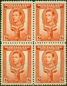 Somaliland 1938 12a Red-Orange SG100 Fine MNH Block of 4