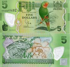 FIJI 5 Dollars Banknote World Money Polymer UNC Currency Pick p115 Bird Bill