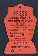 RARE 1948 CHICAGO International Golden Gloves boxing ticket PRESS pass