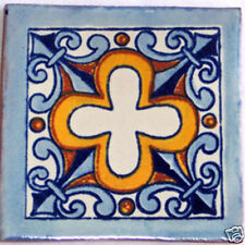 C121) 9 PCS Handcrafted Ceramic Mexican Decorative Tile