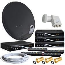 Sat-anlage 80cm Spiegel Schüssel 4x HDTV Sat-Receiver Quad LNB 4-Teilnehmer