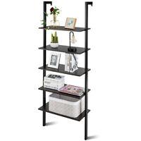 5-Tier Ladder Shelf Wood Wall Mounted Bookshelf W/Metal Frame Display Shelf