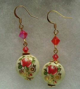 HYACINTH FLORAL TENSHA BEAD EARRINGS
