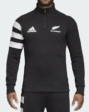 NEW ZEALAND ALL BLACKS Mens Black Adidas 1/4 Zip Fleece Rugby Sweater Small BNWT