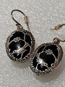 Black Onyx 925 Sterling Silver Dangle Earrings with Bird Scene.