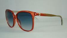 GUCCI GG 3696 S IUQ08 Transparent Red Sunglasses Blue Gradient Lenses Size 57