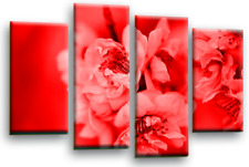 Red Grey Floral Wall Art Canvas White Spring Blossom Flower Split Picture