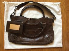 Authentic BALENCIAGA FIRST two Way Hand Bag Brown Leather With Dust Bag