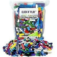 Click n' Play 1000 pc Value Pack Building Bricks Tight Fit, Compatible with Lego