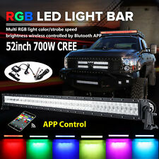 5D RGB 52inch 700W LED Light Bar Multi Color Changing Halo Ring Offroad Flash 54