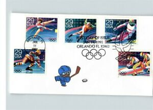 Hand Painted WINTER OLYMPICS, 5 different stamps, Hockey Player, # 1 of 1 FDC