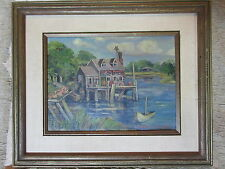 Nice Old Oil Painting on Board House on Dock by River Signed Mildred  Siedenburg