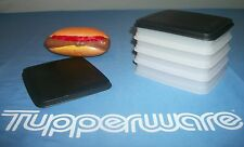 Tupperware 4 Sheer keepers ~Hot Dog House ~2 Black Seals