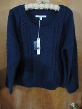 """Ladies """"Lauren Conrad"""" Size XL, Peacoat Blue, Cropped Cable Sweater MSRP $54"""