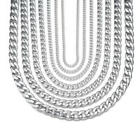 3/4/6/9/12/15mm MENS Boys Chain Silver Curb Stainless Steel Necklace Bracelet