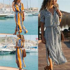 2019 Women's Stripe Long Sleeve Casual Cotton Oversized Maxi Long Shirt  Dress