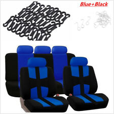 9Pcs Car Seat Covers  Set Full Styling Seat Cover Blue+Black For 5-Seats Protect