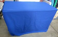 Fitted 4 Foot Royal Blue Polyester Table Cover Commercial Grade Set of 2