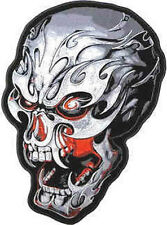 Iron On/ Sew On Embroidered Patch Badge Skull Electric
