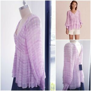 BNWT Country Road Top 14 L Blouse, Women's Orchid Tiered Blouse Outfit RR$159