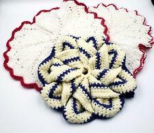 New listing Handmade Crochet Hot Pad / Trivet / Potholders Cotton set of 3