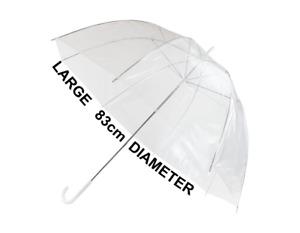 Clear Dome See Through Umbrella Wedding Prop Walking Rain Brolly Windproof New