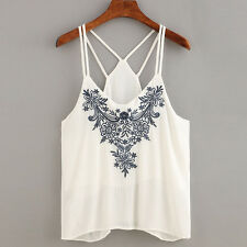 Women's Summer Tank Tops Sleeveless Floral Embroidered Strappy Cami Tops T Shirt