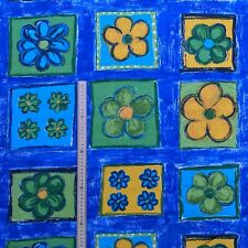 LUSH Blue Cotton Summer Yellow Flowers Fabric Patchwork Quilting Crafts Backdrop