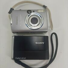 Sony Cyber-shot DSC-T70 8.1MP Digital Camera & Canon SD800is Silver 7.1MP Works!