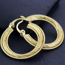 Hoops Earrings 18k Yellow G/F Gold Ladies Real Twist Dangly Antique Design