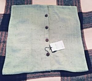 "NEW~West Elm~Pillow Cover Square 20""~SAGE Green~Burlap texture~Silk Blend~FreeSH"