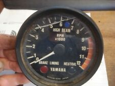Yamaha Vintage XS500 XS 500 Tachometer Rev Counter 3 idiot lights Red Line 9k