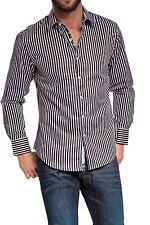 Gestreifte maschinenwäschegeeignete klassische Herrenhemden mit Kentkragen