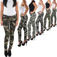 SOTALA Damen Stretch Hüft Röhren Jeans Hose Slim Fit Skinny Armee Camouflage