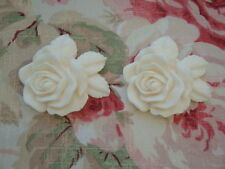 Shabby Chic French Rose & Leaves Furniture Appliques Pair 2pcs. Architectural On
