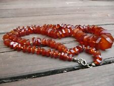 GENUINE ANTIQUE HAND FACETTED SHERRY RUSSIAN AMBER  NECKLACE 琥珀色