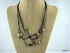 """MONET LEATHER CHOKER WITH GOLD & BRONZE BEADS 16-18"""" BROWN J NWOT FREE SHIP!"""