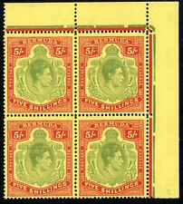 Bermuda 1950 5/- Fourblock Perf 13 MNH SG 118f Cat £140