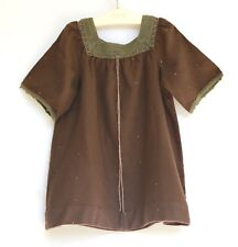 4T Bonpoint Rare Brown Dress Hand knitted Collar w Gold Embroidery 100% wool
