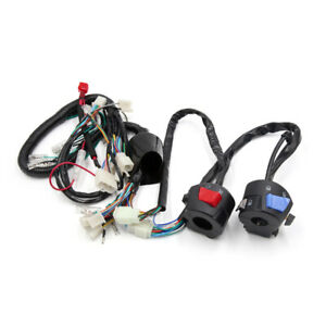 Motorcycle Electrical Main Wire Harness w Handlebar Switch Kit for WY125