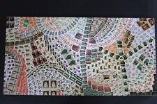 großes Bild, Collage, Briefmarken alle Welt, hunderte Marken, auf Holz, handmade